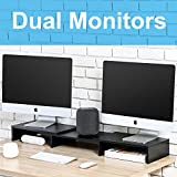 FITUEYES Wood Dual Monitor Stand Riser for Computer TV Laptop Swivel,Length Adjustable DT108001WB