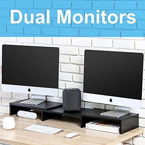 Fitueyes dual Monitor Stand Bildschirmständer für Computer TV Laptop Swivel Länge justierbar holz schwarz DT108001WB