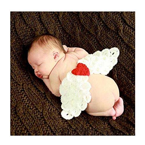 DAYAN weiche handgemachte Häkelarbeit-Baumwollbaby-Fotografie Props Gestrickte kleine Engelsflügel Beanies Kostüm-Set Baby-Kleidung und Zubehör (Beanie Babies Kostüme)