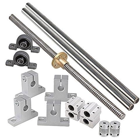CNBTR 200mm Horizontale optische Achse & 2mm Blei Schraube Dual Rail Welle Stütz Kissen Block Bearings & Flexible Welle Kupplung Satz von 15