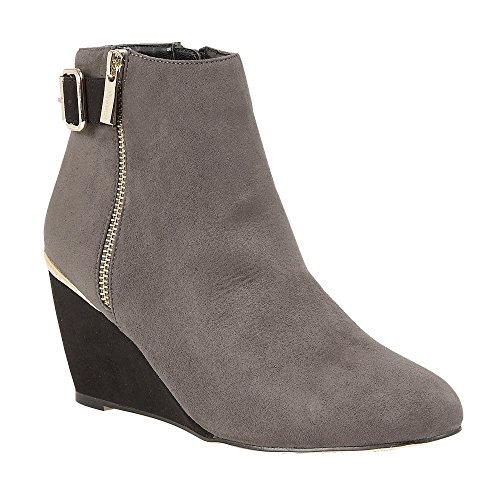 Lotus Cassia Womens Dress Ankle Boots 4 GREY/BLACK MICROFIBR