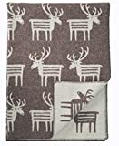 KLIPPAN Creme-braune Wolldecke 'Reindeer', 130x180cm, umkettelt, 100% Lambswool