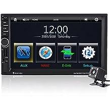 """Qiilu 7"""" Reproductor MP5 de coche Pantalla Táctil HD Bluetooth GPS Radio FM AUX con Control Remoto Cámara de visión trasera"""