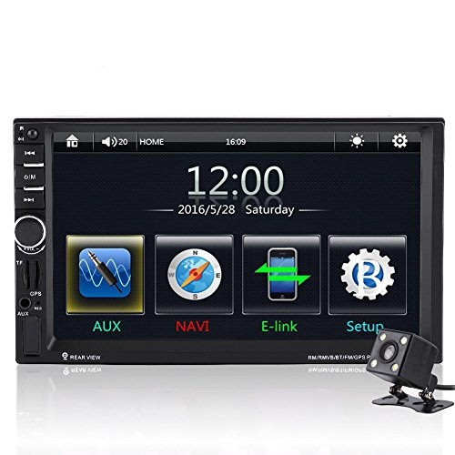 Qiilu 7 'Car MP5 Player Touch Screen HD Bluetooth GPS Radio FM AUX with Remote Control Rear View Camera