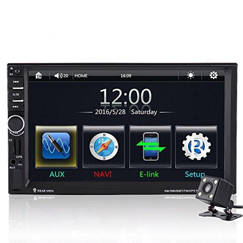 Qiilu 7' Reproductor MP5 de coche Pantalla Táctil HD Bluetooth GPS Radio FM AUX con Control Remoto Cámara de visión trasera