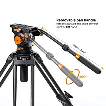 TARION Professional Camera Tripod System with Fluid Head Carbon Fibre Panoramic View Maximum Height 162cm with 10kg Load Double Feet Extra Stability for Heavy Duty Photography and Videography