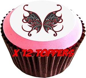 Ailes de Fée Rouge et Noir # comestibles pour gâteaux (12de 38mm 3,8cm) # 103
