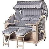 Strandkorb Kampen Teak Vintage Bullauge - Luxus Strandkorb der Extraklasse - Made in Germany