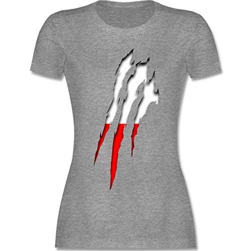 Länder - Polen Krallenspuren - tailliertes Premium T-Shirt mit Rundhalsausschnitt für Damen Grau Meliert