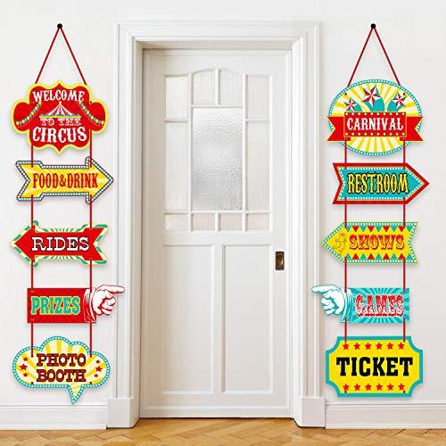 Blulu Karneval Dekorationen, Laminierte Zirkus Karneval Zeichen Zirkus Thema Party Zeichen Karneval Party Versorgung Dekor Papier Ausschnitte mit 2 Bändern und Kleber Punkt