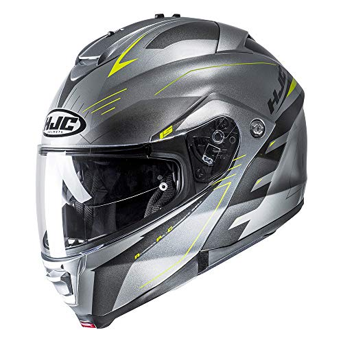 Casco Convertibile Flip-Up Moto Hjc Is-Max 2 Cormi Fluorescent (L, Argento)