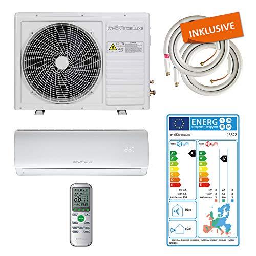 Home Deluxe - Klimaanlage SET Split - Kühlen A++/Heizen A+ - 9000 BTU/h (2.600 Watt) - Kältemittel R32 - Fernbedienung und Timerfunktion - Inkl. komplettem Montagematerial