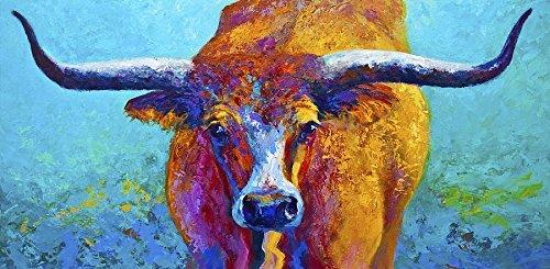 Y&J Modern Leinwand Art Wand für Zuhause und Büro Dekoration Ölgemälde Print Art Anima auf Leinwand, Texas Longhorn Skull Muster, Canvas Prints Giclée Kunstwerk für Wand Decor (81,3x 40,6cm) (Texas Longhorn Dekorationen)