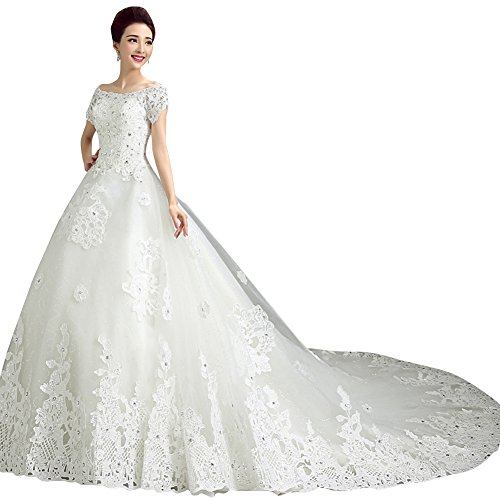 Beauty-Emily senza spalline Maxi Train pizzo strass sfera abito da sposa bianco A