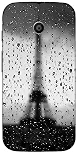 Snoogg Rainy Paris Case Cover For Motorola E / Moto E