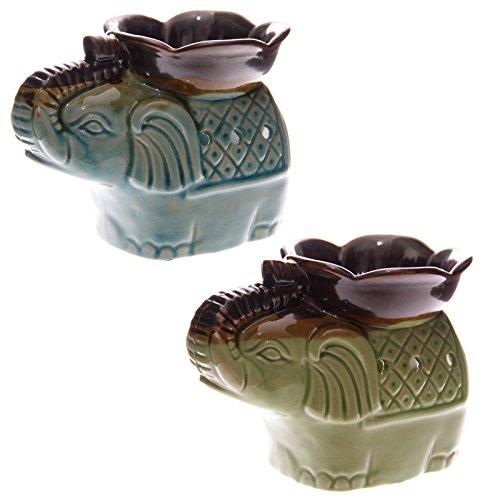 Ceramic two tone glaze elephant and flower oil