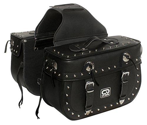 Basser International – Bolsas de Piel para Asiento de Motocicleta, Color Negro, 2 Unidades, Ajuste Universal, Desmontable, Estilo de Tira
