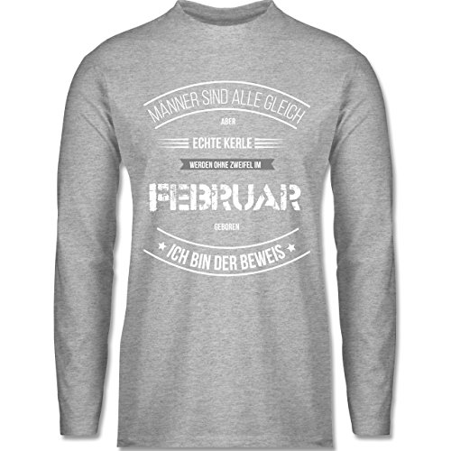 Shirtracer Geburtstag - Echte Kerle Werden IM Februar Geboren - Herren Langarmshirt Grau Meliert