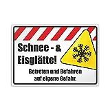 Kiwistar Schnee und Eisglätte! Betreten und Befahren auf eigene Gefahr Parkplatzschild PVC - 21 x 15cm