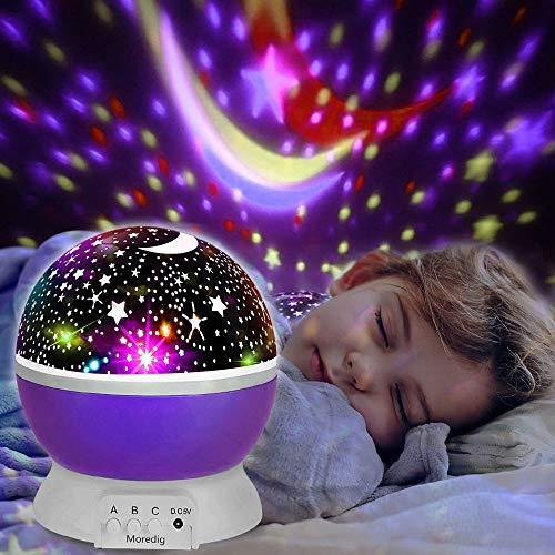 Lámpara de nocturna, innislink estrellas proyector Lámpara Infantiles luz del proyector LED Cosmos Luna Luz nocturna para niños, bebés, regalos de la Navidad, Cuarto de los Niños, Cumpleaños - Púrpura