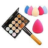 Chinatera 15 Farben Make-up Concealer Palette + Wasser Schwamm Pudern + Schrägkopf Pinsel