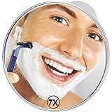 21cm Espejos para afeitado 7x Ampliación Espejos de aumento de pared , Grande Espejo de Baño con Ventosa, Ideal para afeitarse peinarse ducha baño maquillaje viajes