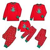 Amphia - Weihnachten Familienkleidung Hausdienst - Lange Ärmel, Comic-Weihnachtsbaum, Schneeflocke Tops + Hosen,(Mutter,XXL)