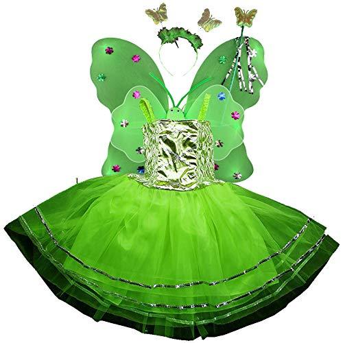 Kostüm Schmetterling Tutu Mädchen - TGP Schmetterling Kostüm für Mädchen - 4-teiliges Set - Feenflügel/Schmetterlingsflügel Verkleiden (Grün)
