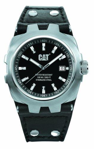 Caterpillar YELLOW STEEL CA1519 - Reloj analógico de caballero de cuarzo con correa de piel negra