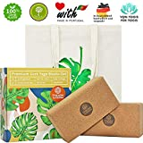 Triangles in Circles Premium Kork Yoga-Block 2er Set + Tasche | 100% Natur, 75mm
