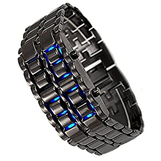 LED Watch Ice Blue Samurai Japanese Inspired LED wristwatch for men and women