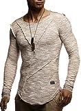 LEIF NELSON Herren Pullover Rundhals Ausschnitt modernes Sweatshirt Crew Neck Rundkragen O-Neck Kurzarm Longsleeve Basic Polo Shirt Freizeit Hemd LN8182; Größe S; Beige