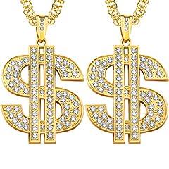 Idea Regalo - Catena Placcata Oro, Finte Collana Catena d'oro per Gli Uomini (Collana Dollaro 2 Pezzi)