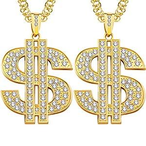 2 Stücke Hip Hop Gold Kette 32 Zoll Große Klobige Kette für Männer, Faux Gold Kette Halskette für Kostüm Schmuck Rapper Punk Stil
