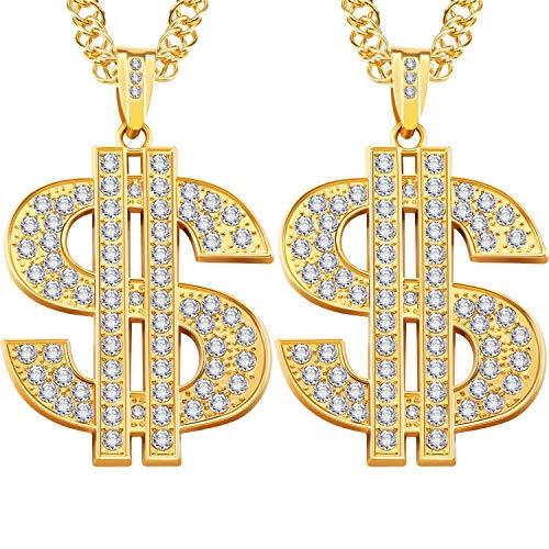 Kostüm Dollar Family - 2 Stücke Hip Hop Gold Kette 32 Zoll Große Klobige Kette für Männer, Faux Gold Kette Halskette für Kostüm Schmuck Rapper Punk Stil (Dollar Necklace)
