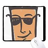 DIYthinker Sunglass Visage abstrait Sketch Emoji non-Slip Tapis De Souris Bureau Jeu Noir Titched Edges cadeau