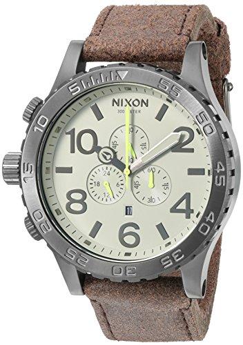 Nixon Homme 51-30 Chrono Montre Cuir Analogique, Color: Gunmetal / Marron