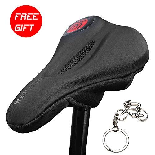 icocopro Ultra Weich Bike Gel Sitz Premium gepolstert Bike Sattel Bike Sattel Kissen für Spin Klasse oder Outdoor Radfahren mit Cooles Design, Herren, 3AWJ-YP0801088-Red, rot