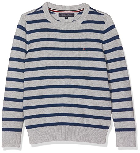 Tommy Hilfiger Jungen Pullover Ame Stripe CN Sweater L/S, Grau (Grey Htr/Estate Blue 904), 128