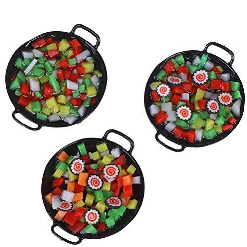 FADACAI 1 stücke Neue 1:12 Dollhouse Miniature Mini Wok Mahlzeit Sushi gemüse süßigkeiten Lebensmittel Spielzeug Spiel für puppenhaus küchengeschirr, puppenhaus Dekoration zubehör Neue Wok