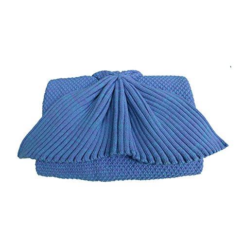 Meerjungfrauen-Schwanz Kuscheldecke, für Teenager/Erwachsene, Geschenk für familien, blau, Children size: W:23.6 * L:59(inch)