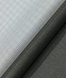 Raymond Worsted Grey Self Design Trouser Fabric With Exquisite Khadi Look White base Grey Check Shirt Fabric (Unstitched)