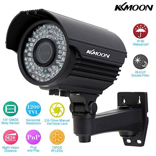 "Kkmoon tp-e225ire telecamere di sicurezza security camera impermeabile esterna cctv 1/3"" sony cmos 1200tvl 72ir led ir-cut 2.8~12mm zoom varifocale"