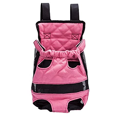 Front Pack Backpack Canvas Bags Carrier for Cat Dog Puppy Head Legs Tail Out Portable and Safe (XL-Suggest Dog Weight Under 14.2 lb, Pink)