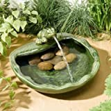 Smart Solar 22300M01 Frog Glazed Ceramic Water Feature - Green