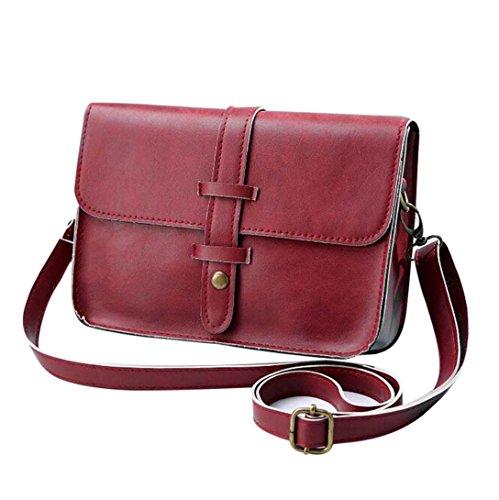Amlaiworld Umhängetasche, Frauen Vintage Handtasche Tasche Leder Cross Body Schulter Umhängetasche (rot) -