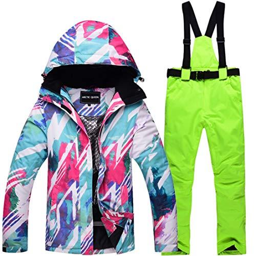 WAVENI Senderismo al Aire Libre Traje de Nieve para Mujer Chaqueta de esquí de Invierno y Pantalones Conjunto de Traje de Nieve (Color : 05, Size : M)
