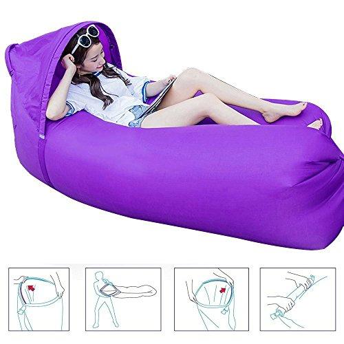 Air sofá, Sunshine Home, sofá impermeable hinchable, portátil, sofá / cama / cama de camping / playa, morado