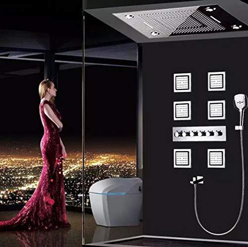 YAMEIJIA 600 * 800 große Himmelsvorhang-Dusche Set LED-Lichttemperatur intelligent dunkel in Wanddusche