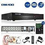 OWSOO DVR 16CH Kanal H.264 HDMI P2P Cloud Netzwerk digitaler Videorecorder + 1TB Festplatte Unterstützung Audio Aufzeichnen Telefon Control Motion Detection E-Mail Alarm PTZ